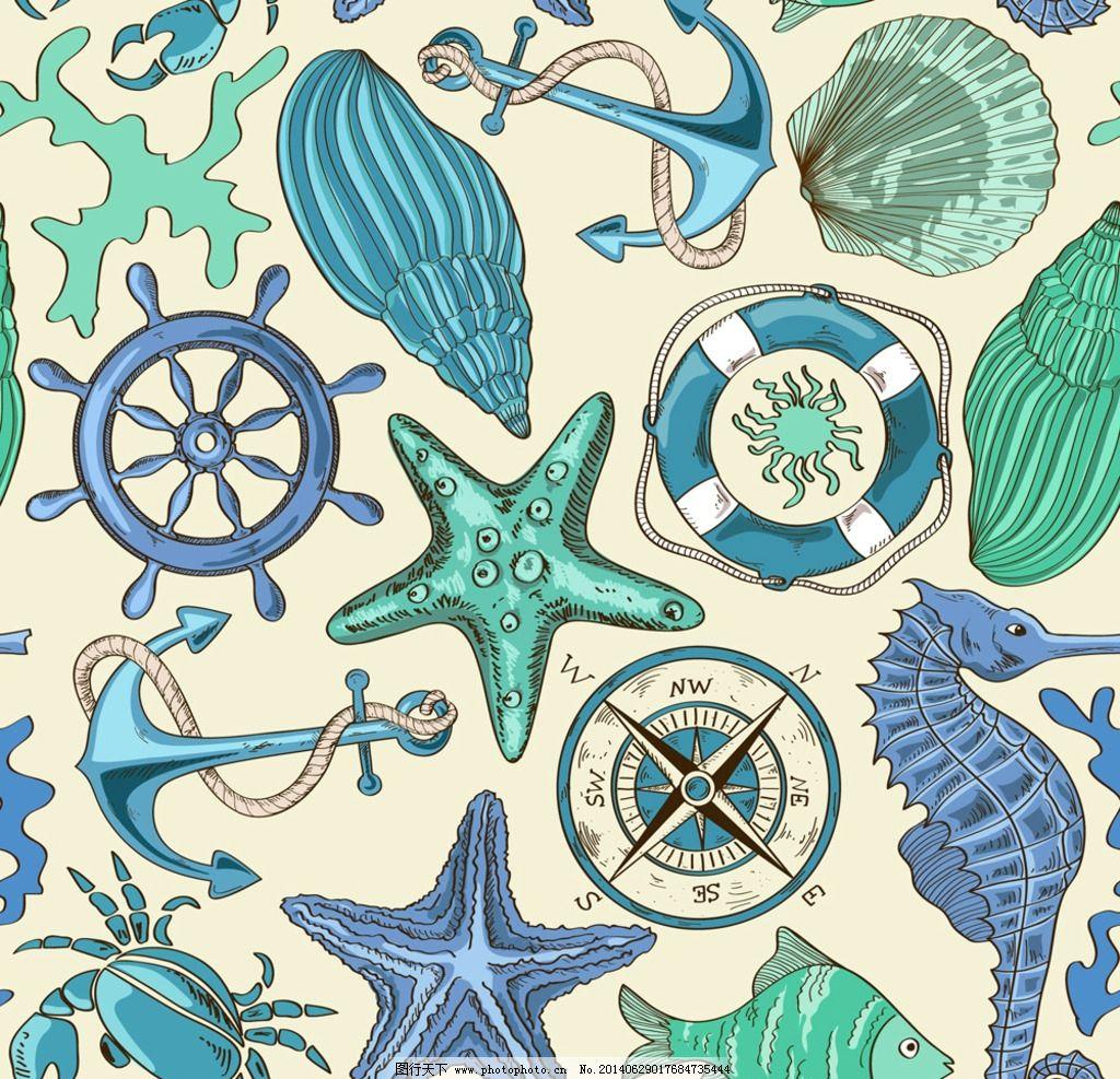 卡通海洋生物 海星 海马