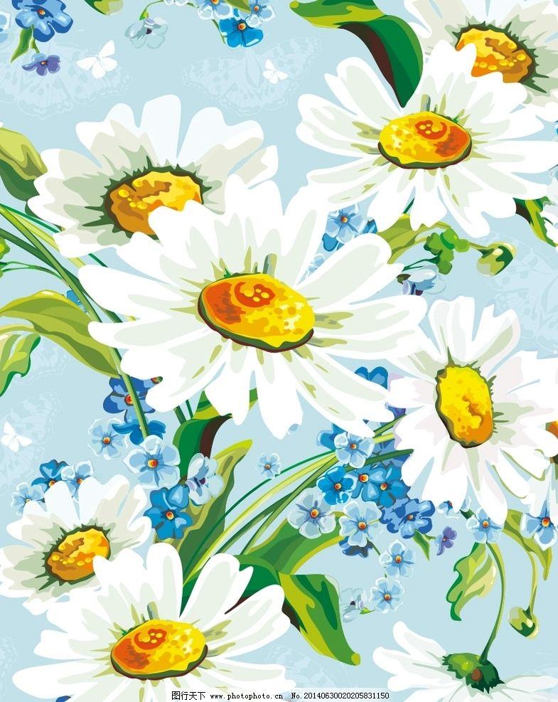 鲜花图案 菊花 小雏菊 花纹 手绘花纹 布纹 墙纸纹 图案 印花 时尚