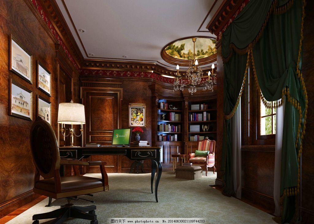 书房 装饰        欧式 别墅书房 办公空间装饰 木制作 3d作品 3d设计