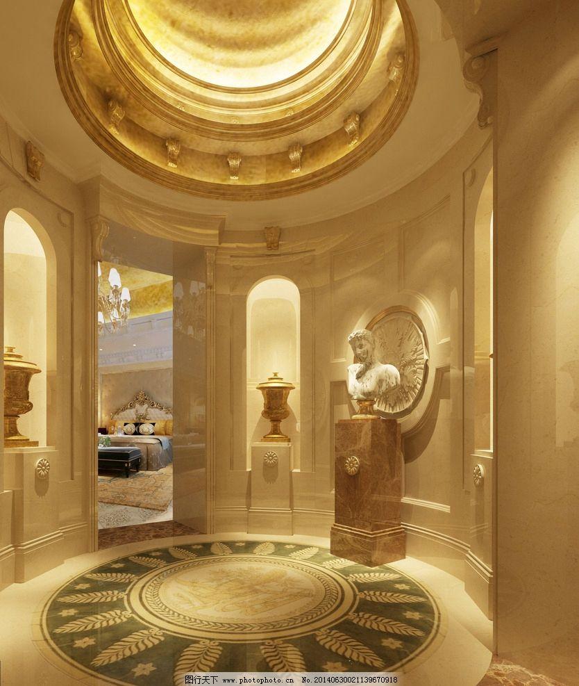 别墅门厅        欧式 石材门厅 地面石材拼花 装饰 石材 3d作品 3d