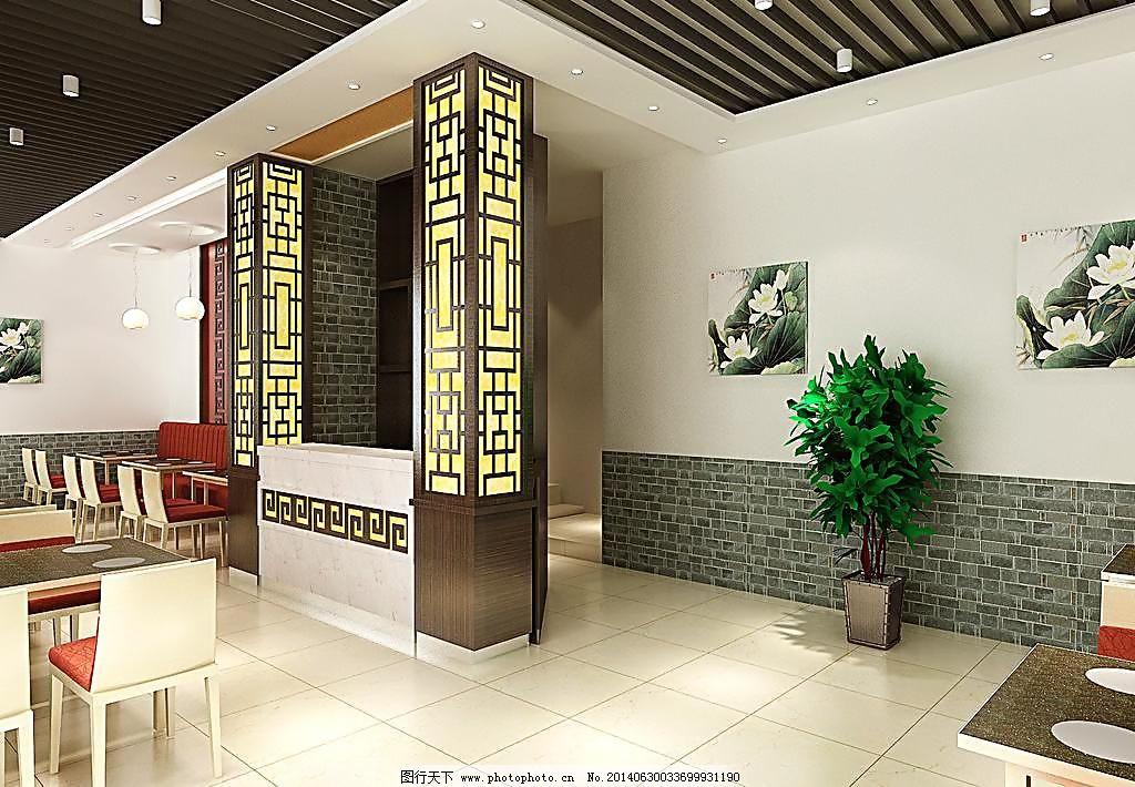 中式火锅店门厅 环境设计 卡包 室内设计 收银台 中式木雕格 格栅吊顶图片