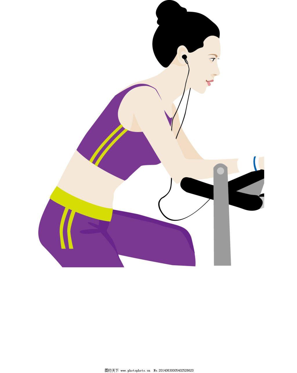 卡通 美女 跑步机 人物 音乐 运动 跑步机 美女 音乐 矢量 卡通 人物