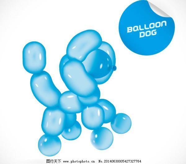 卡通动物气球造型矢量图3