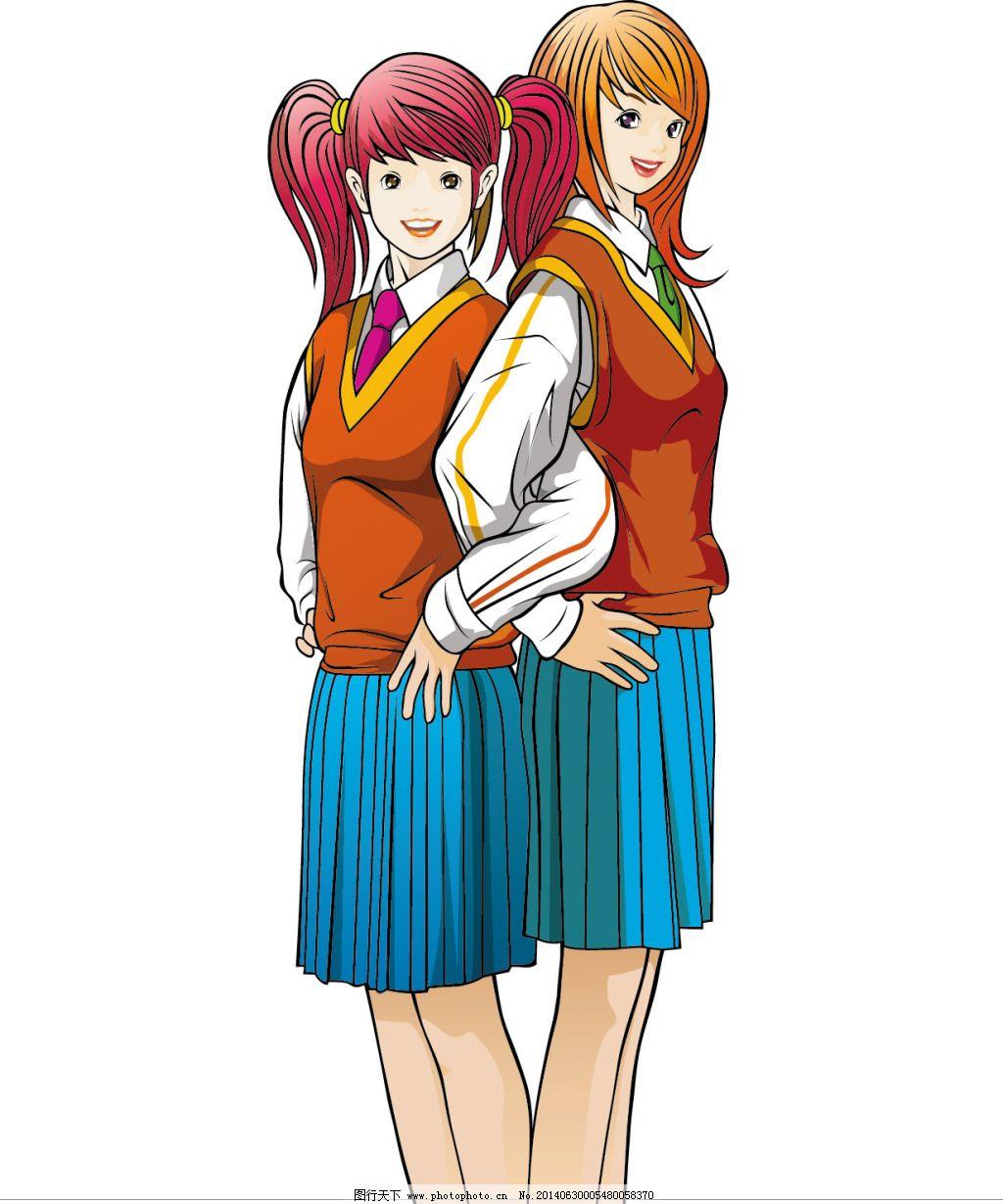 女生 手绘 学生 卡通 矢量 手绘 学生 女生 背靠背 矢量图 矢量人物