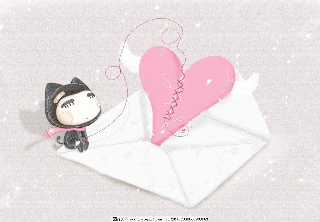 可爱心形信封和超萌小猫