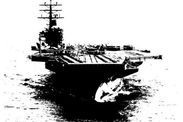 航空母舰黑白剪影图