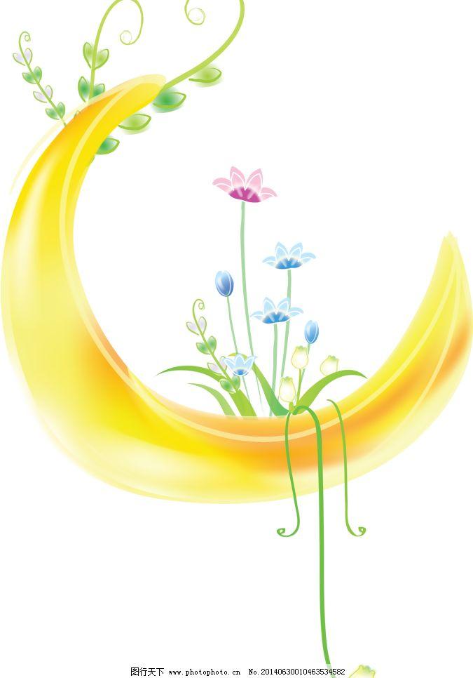 手绘月亮 手绘花纹 月亮花纹 月亮 花藤 花朵 卡通 精美花纹 手绘花朵