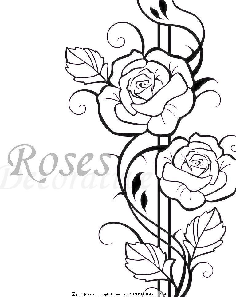 jpg 底纹边框 黑白 玫瑰 设计 线条 移门图案 玫瑰 roses 2朵玫瑰花