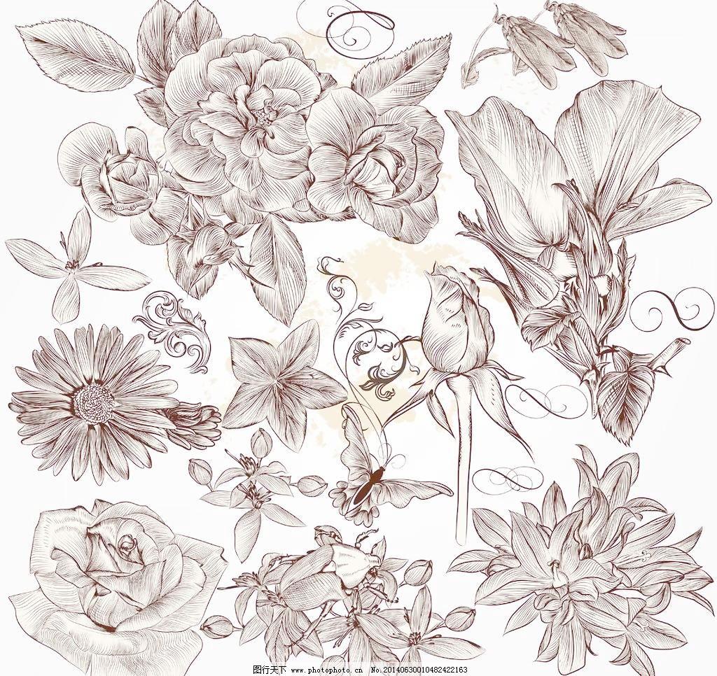 矢量模板下载 矢量花纹 矢量花纹边框 手绘花朵 矢量素材 花纹 底纹