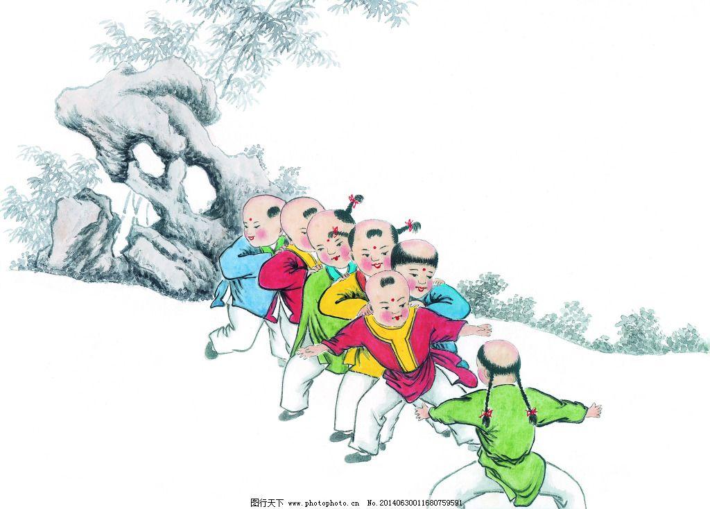 老鹰抓小鸡免费下载 动物 绘画 美术 人物 中国画 青松翠柏 怪石崚峋