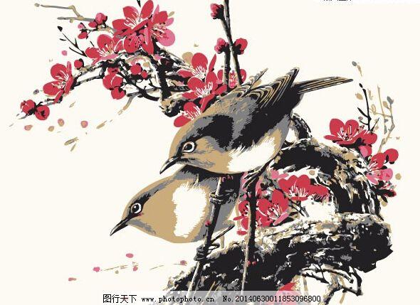 矢量植物 中国风 矢量动物 矢量植物 鸟类 麻雀 梅花 梅树 工笔画