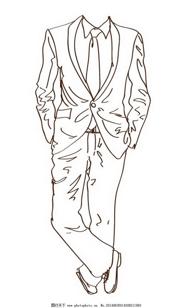 手绘男士绅士优雅西装线稿矢量图
