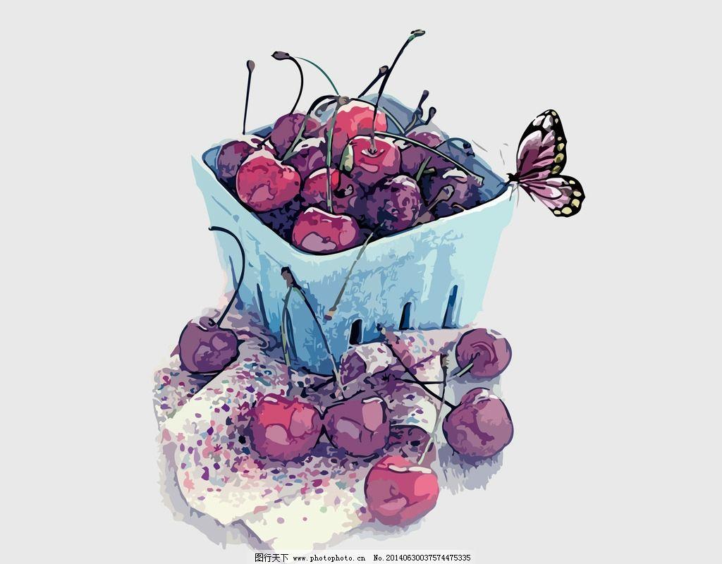 手绘樱桃图片