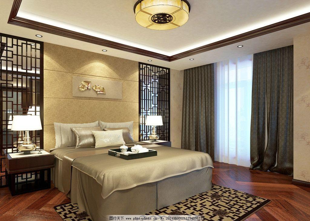 卧室,家装,中式,现代,主卧,3D作品,3D设计